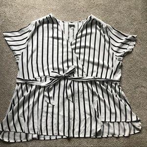 Plus Striped Wrap Blouse